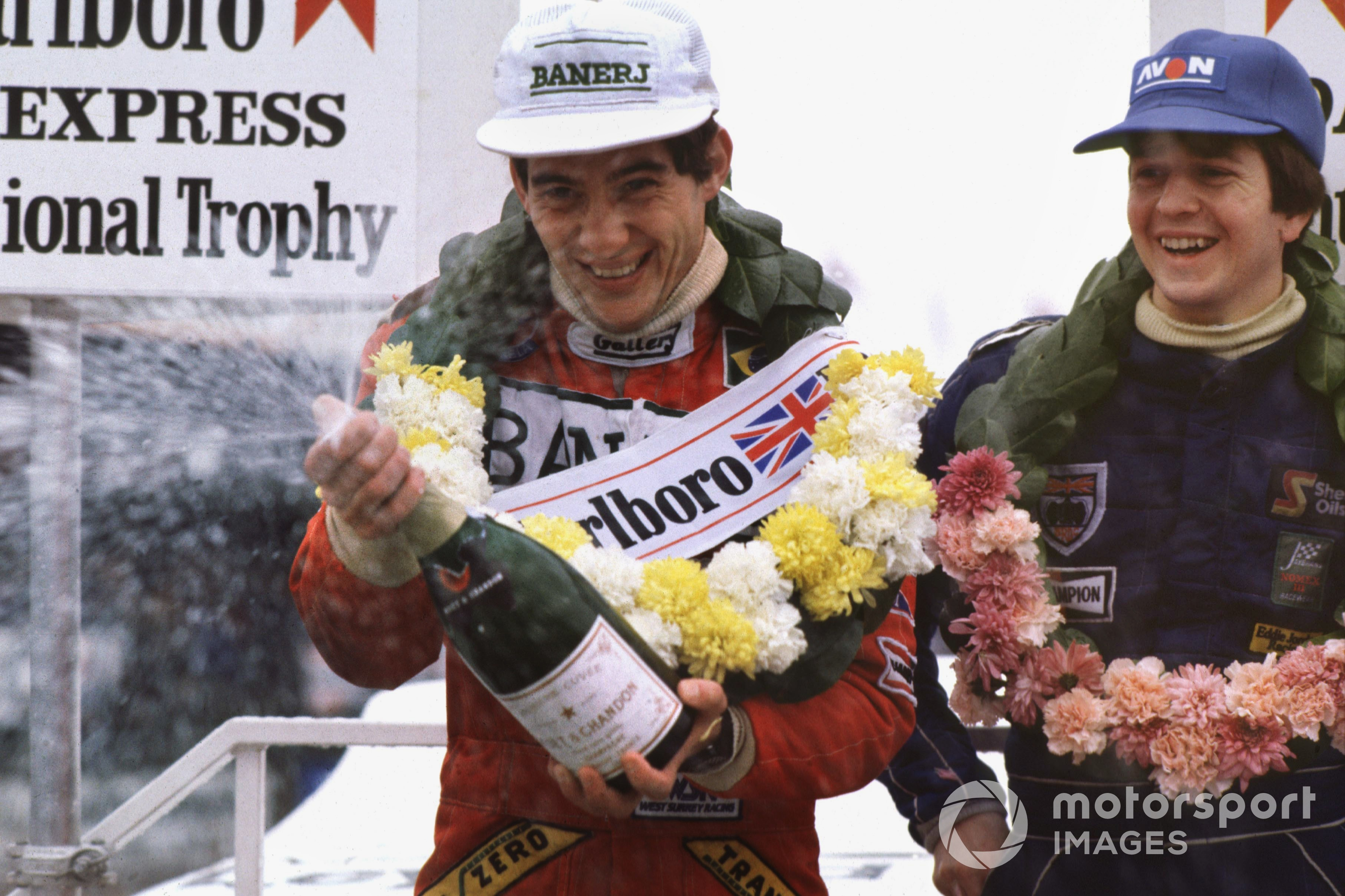 Ayrton Senna and Martin Brundle (both Ralt RT3-Toyota), finished in 1st and 2nd positions respectively, podium.