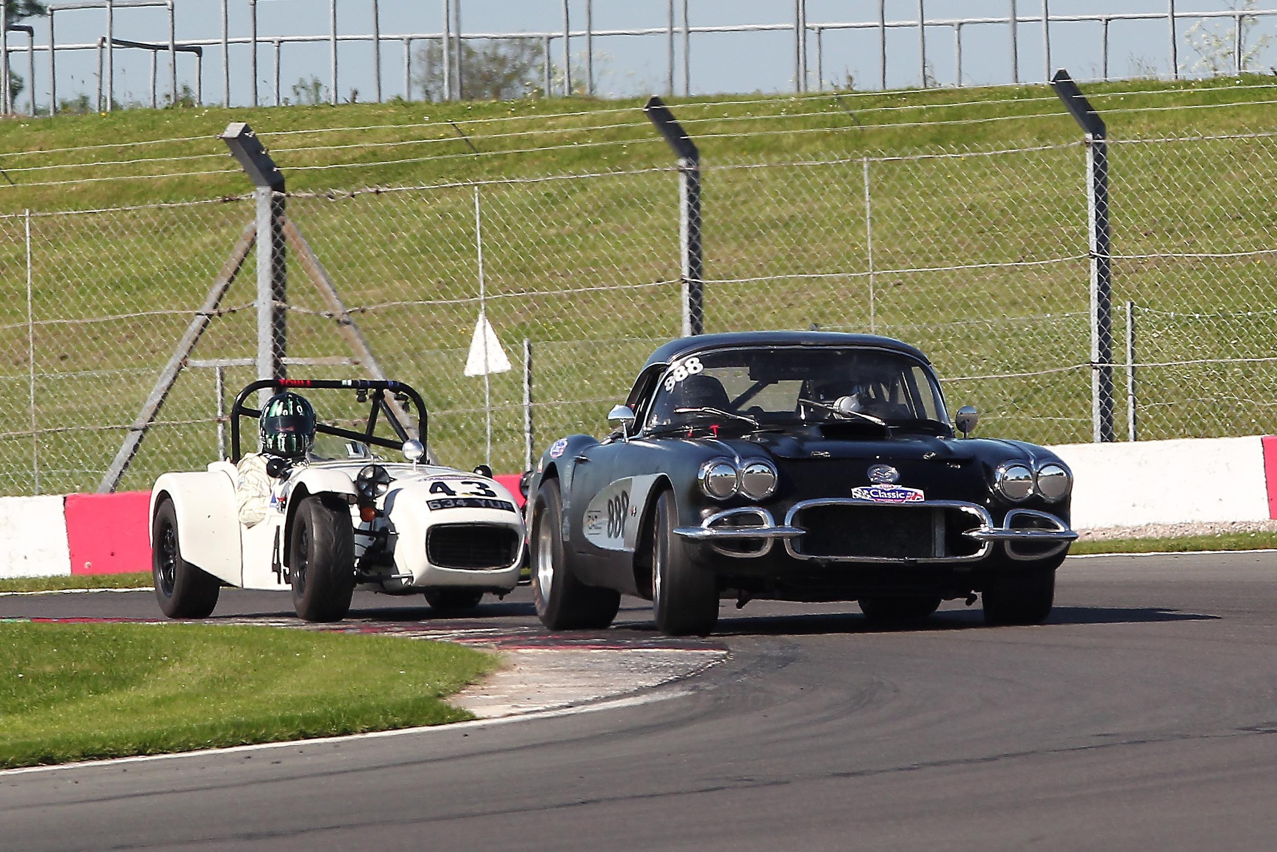 Simeon Chodosh (Chevrolet Corvette) and Steve Hodges (Lotus 7), Donington Park CSCC 2021