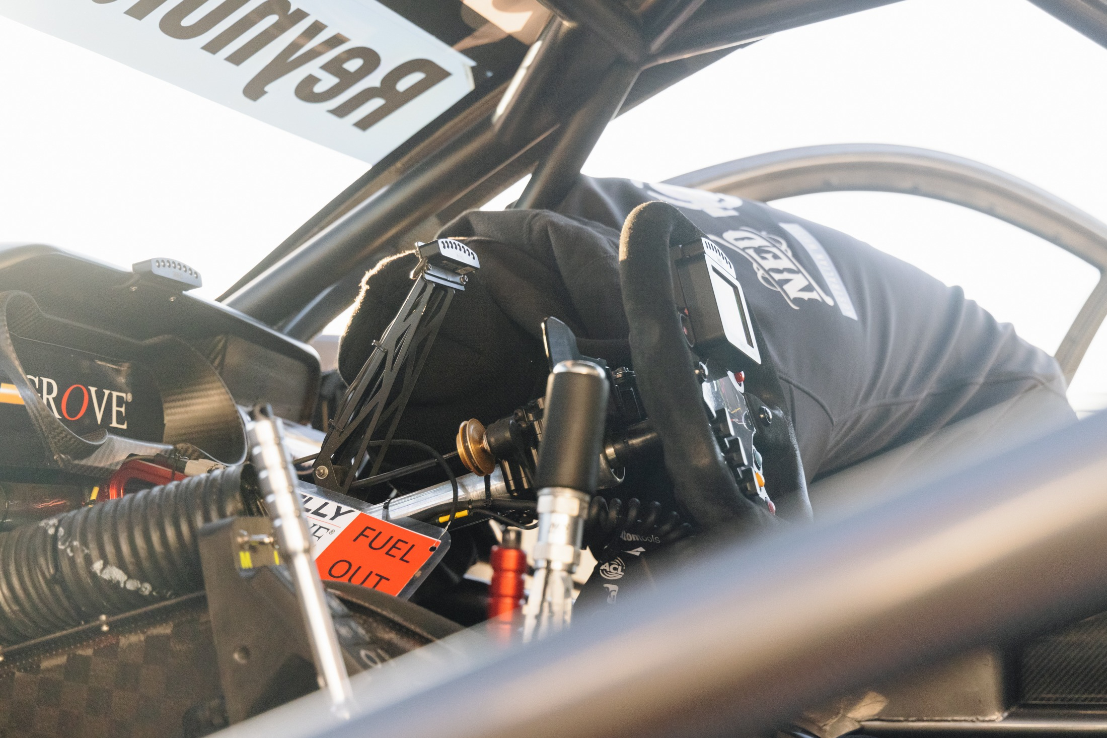 Cockpit of David Reynolds' Kelly Grove Racing Ford Mustang