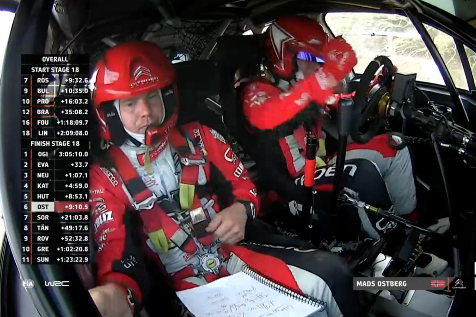 Ostberg bangs the steering wheel in anger.