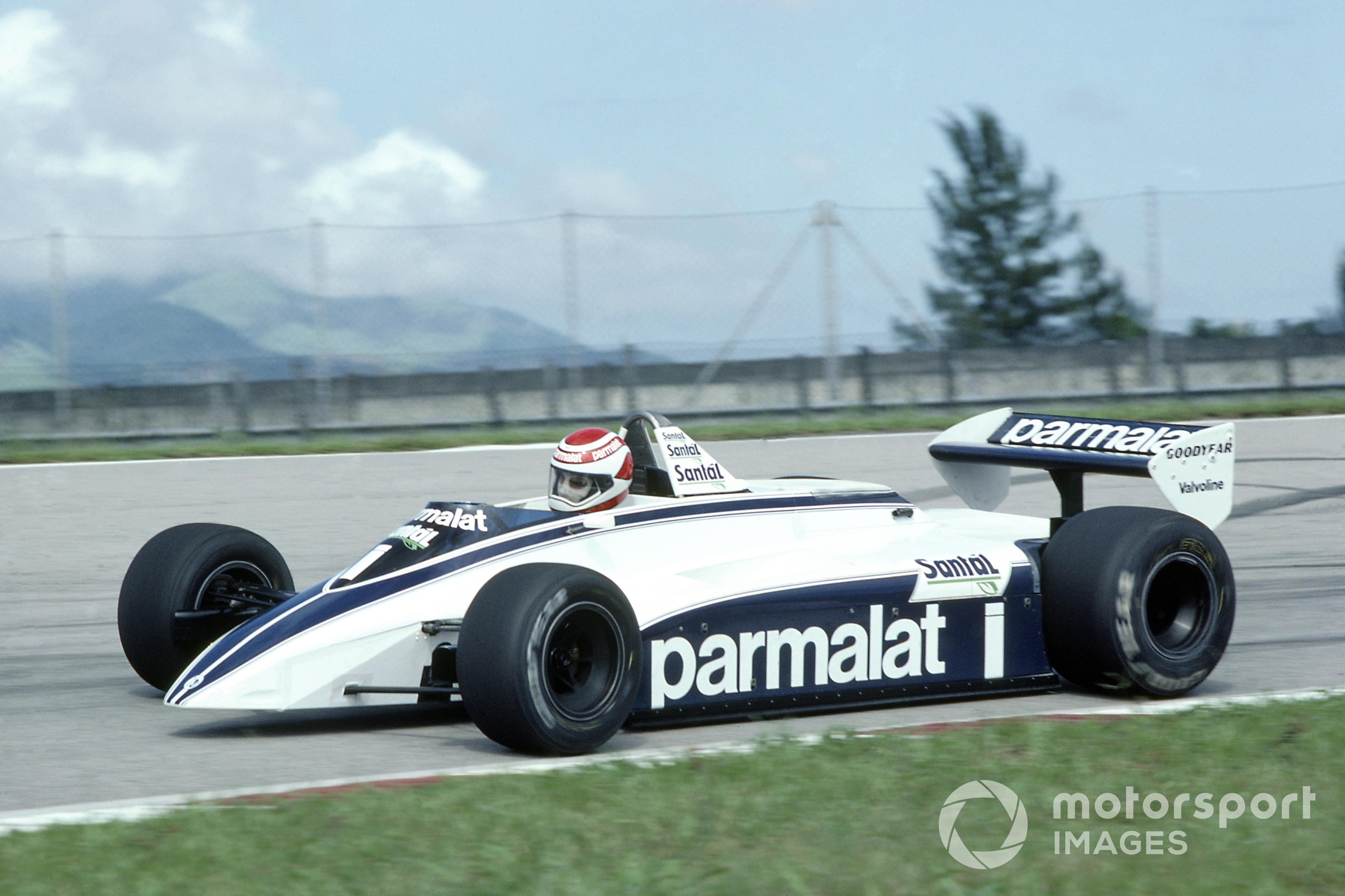 Nelson Piquet (Brabham BT49D-Ford Cosworth), descalificado en el GP de Brasil de 1982.