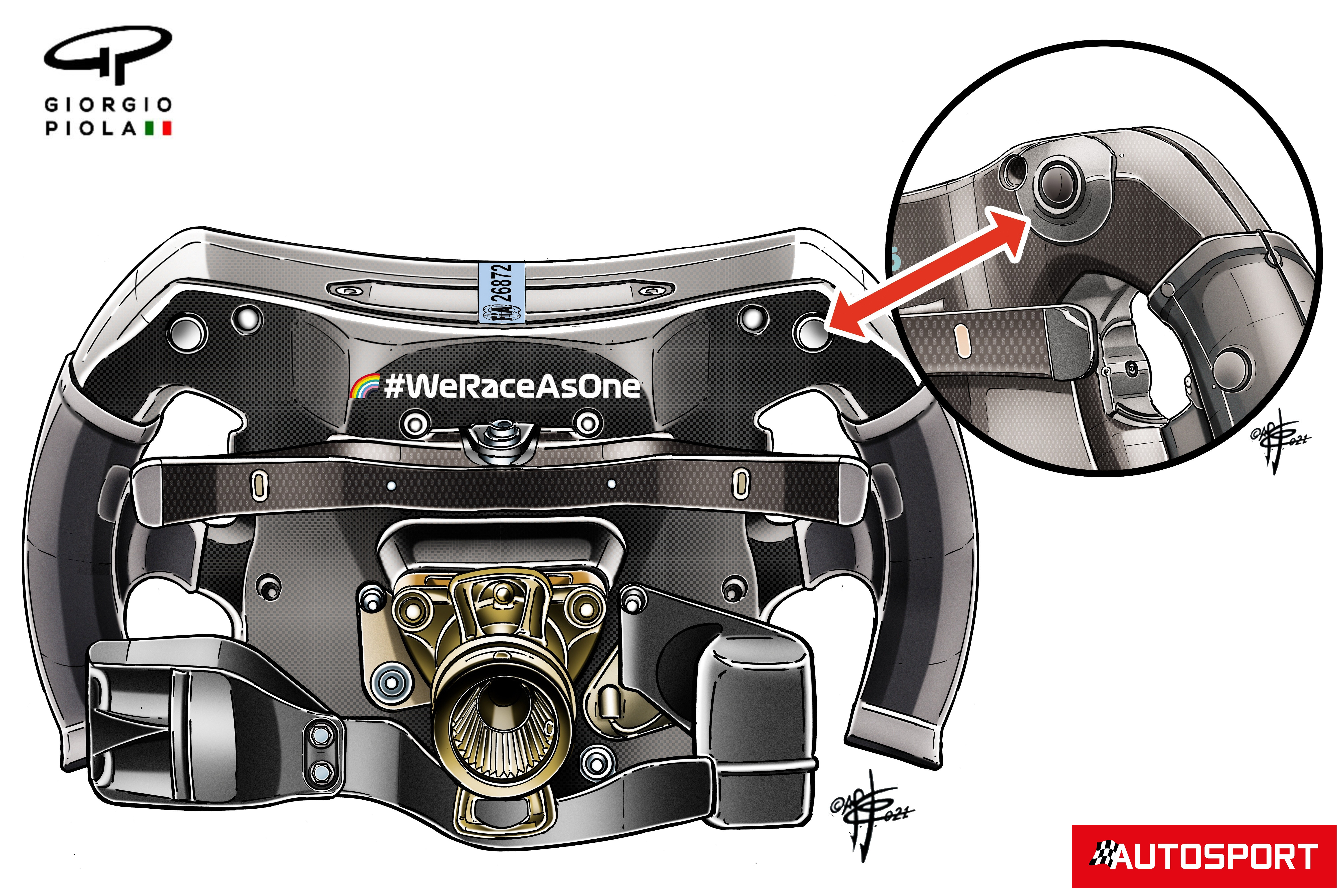 Mercedes AMG F1 W12 steering wheel back protection detail, French GP