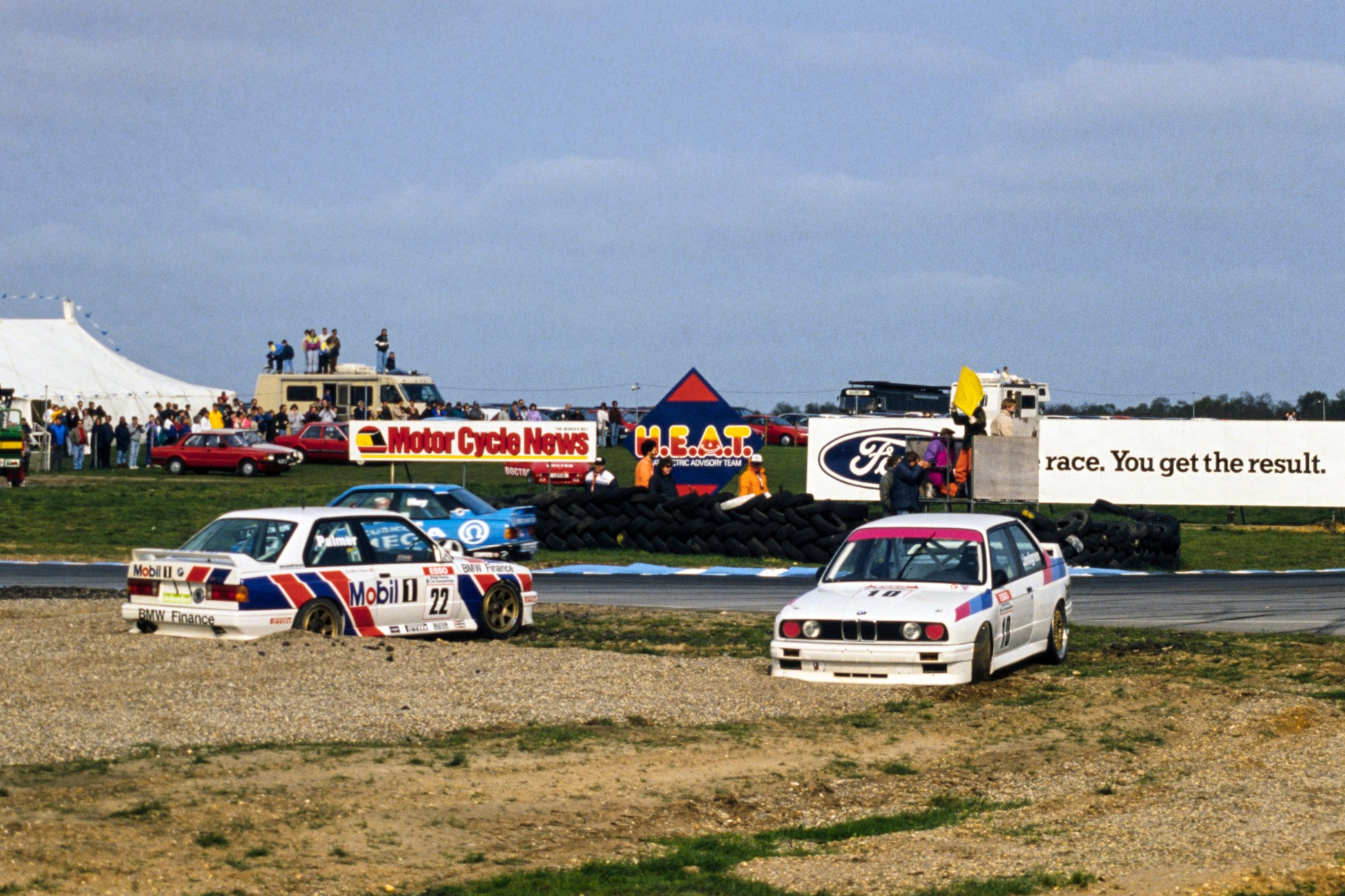 Lindgren and Palmer at the scene of their infamous BTCC clash at Snetterton in 1991