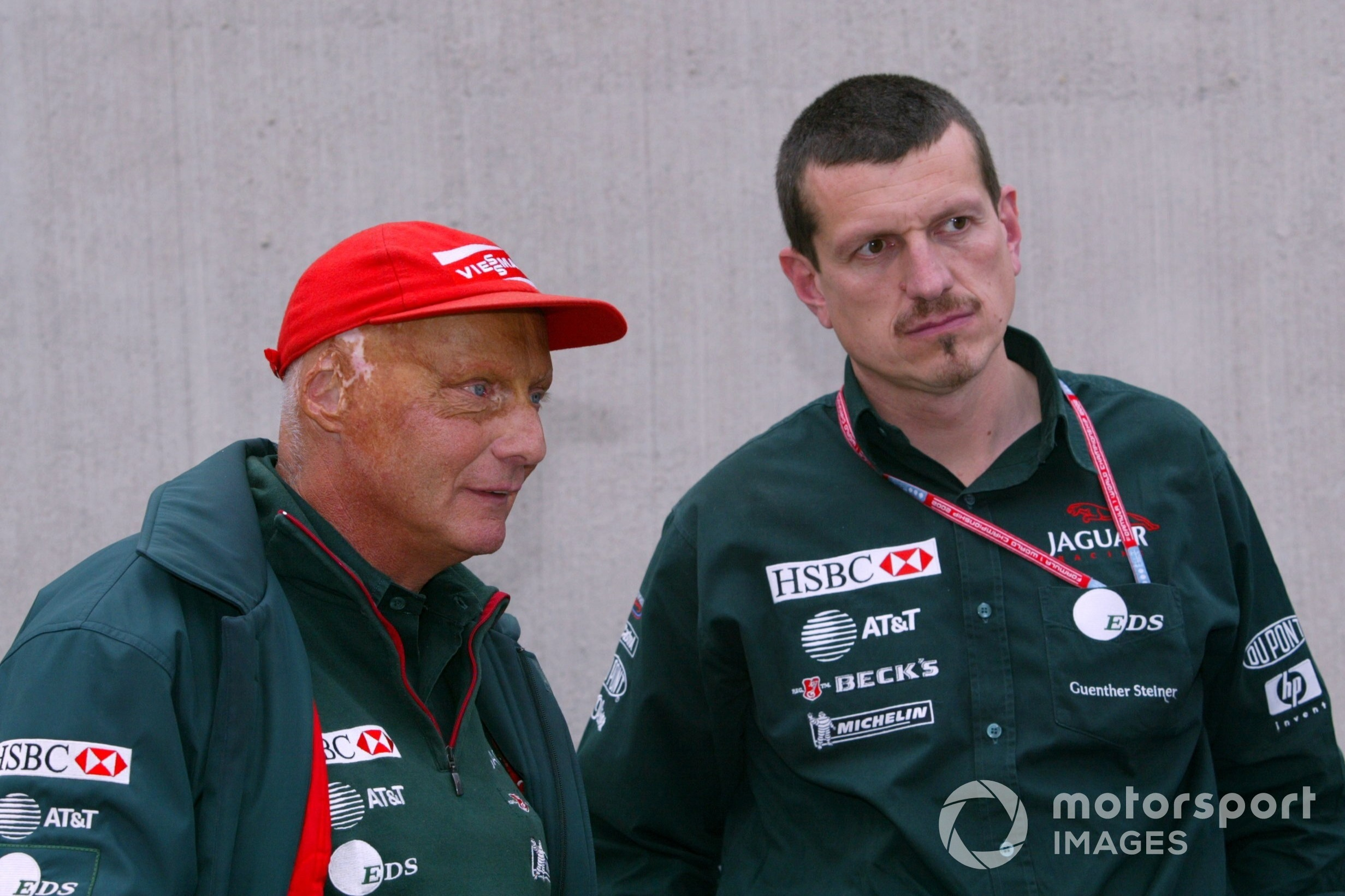 Niki Lauda Jaguar Team Principal with Gunther Steiner Jaguar Technical Director, 2002 United States Grand Prix