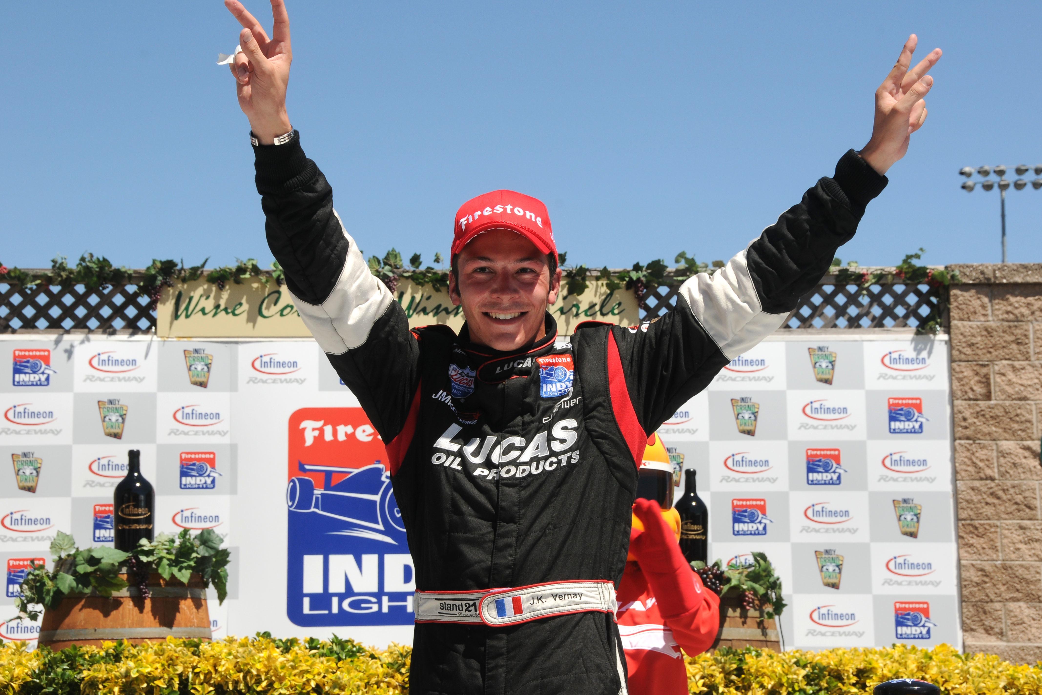 Jean-Karl Vernay celebrates victory at Sonoma in 2010