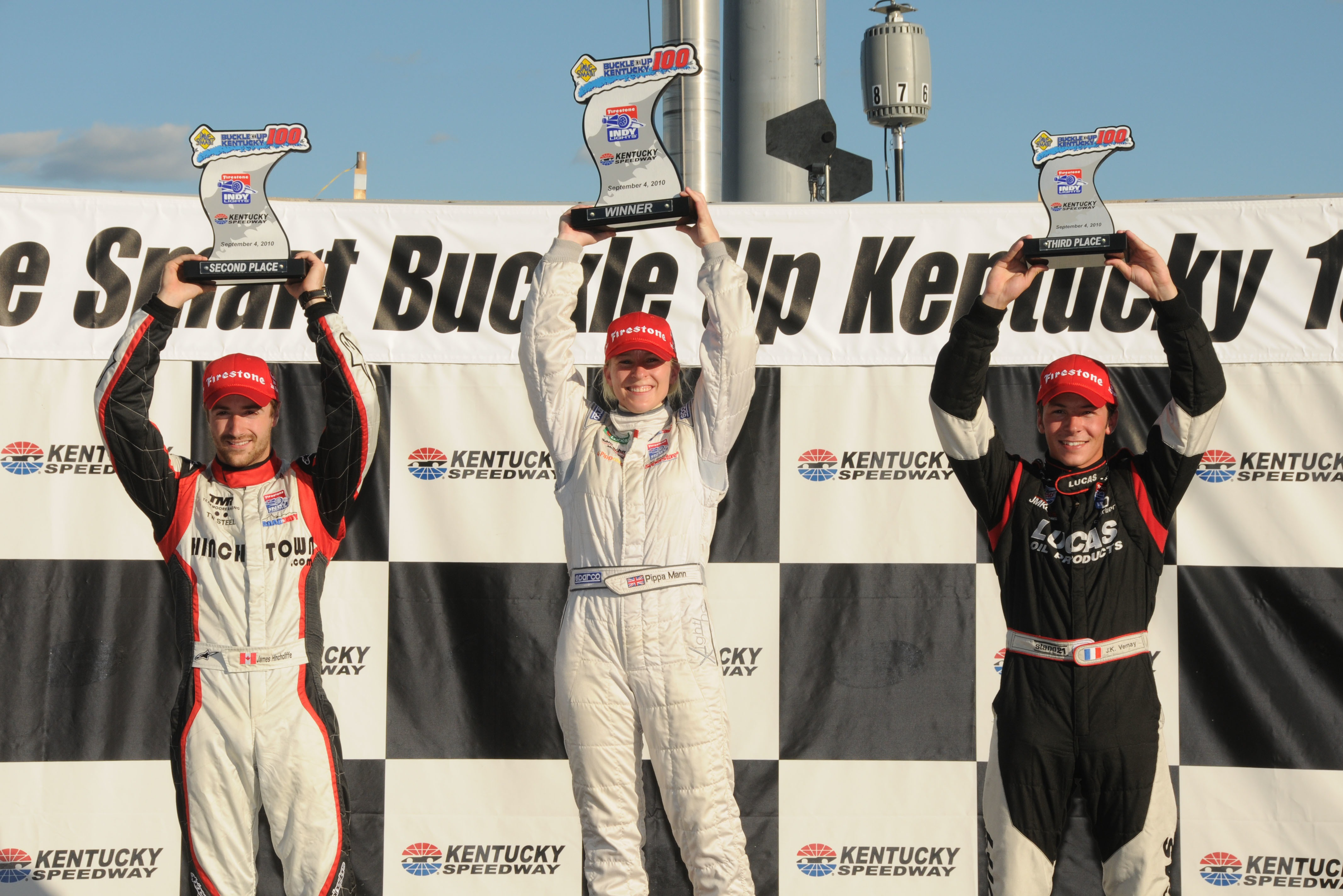 Vernay joins winner Pippa Mann and James Hinchcliffe on the podium at Kentucky