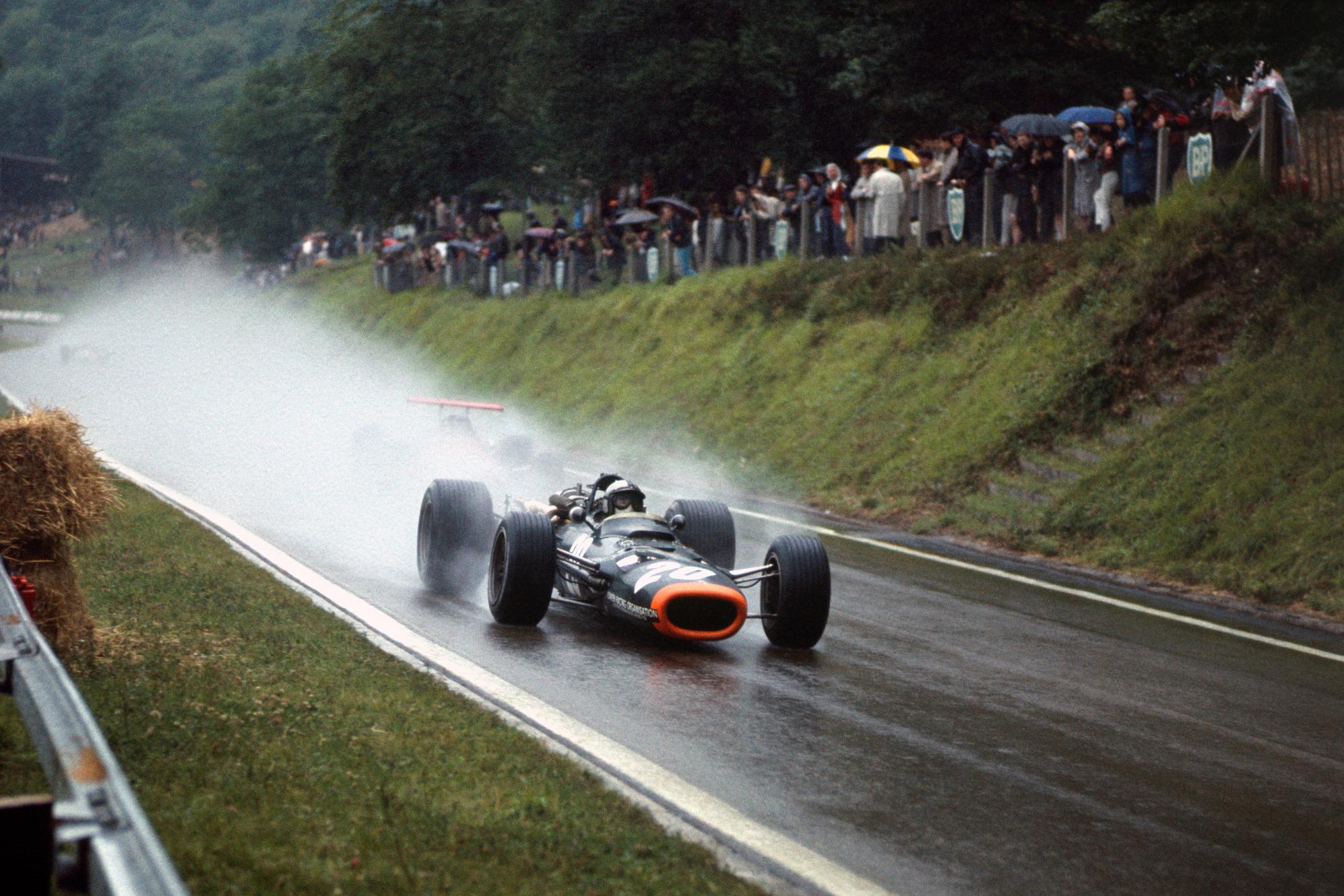 Rodriguez brilló con pista mojada en el GP de Francia de 1968.
