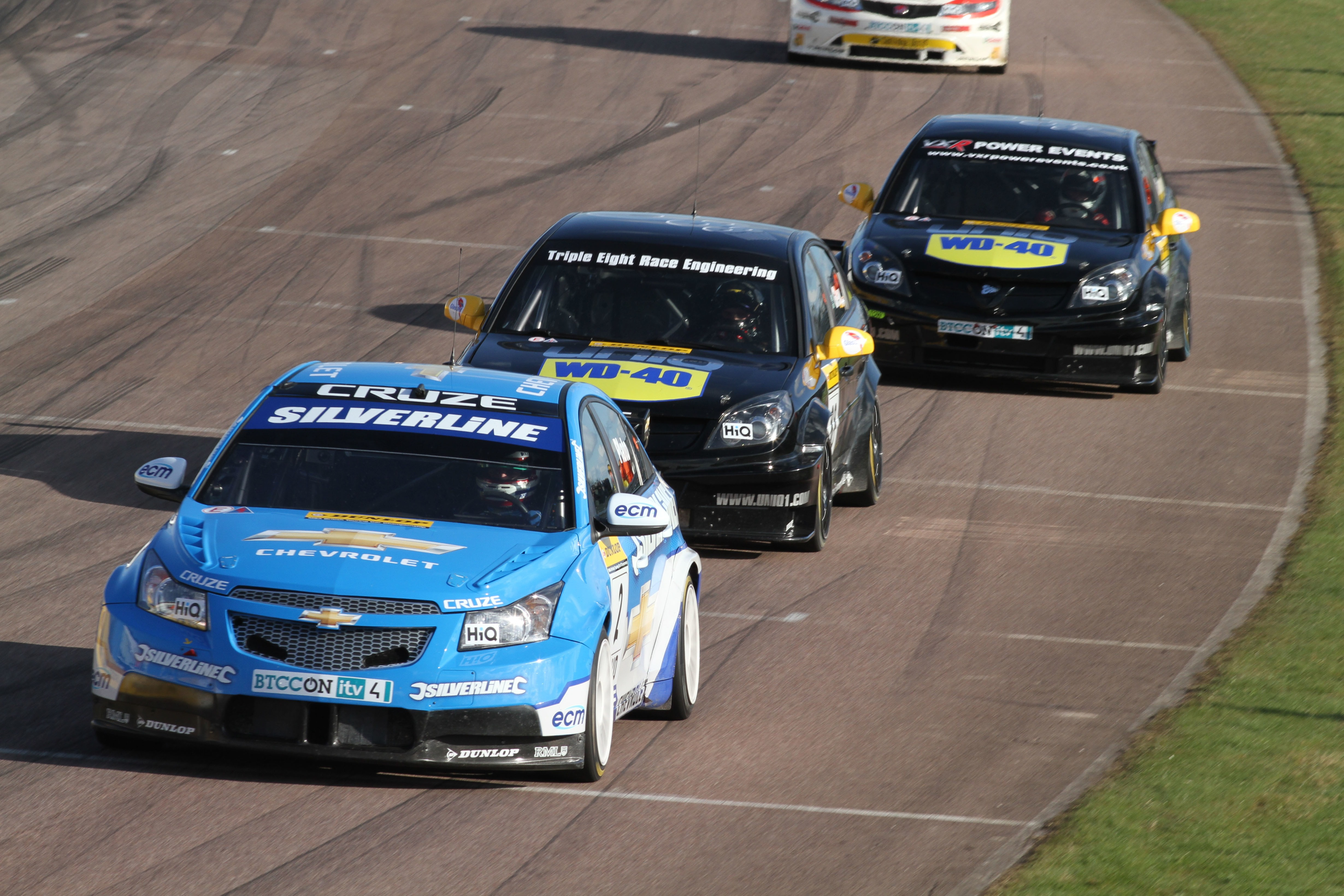 Jason Plato holds off Glew and Giovanardi in race three before the rookie's engine gave up