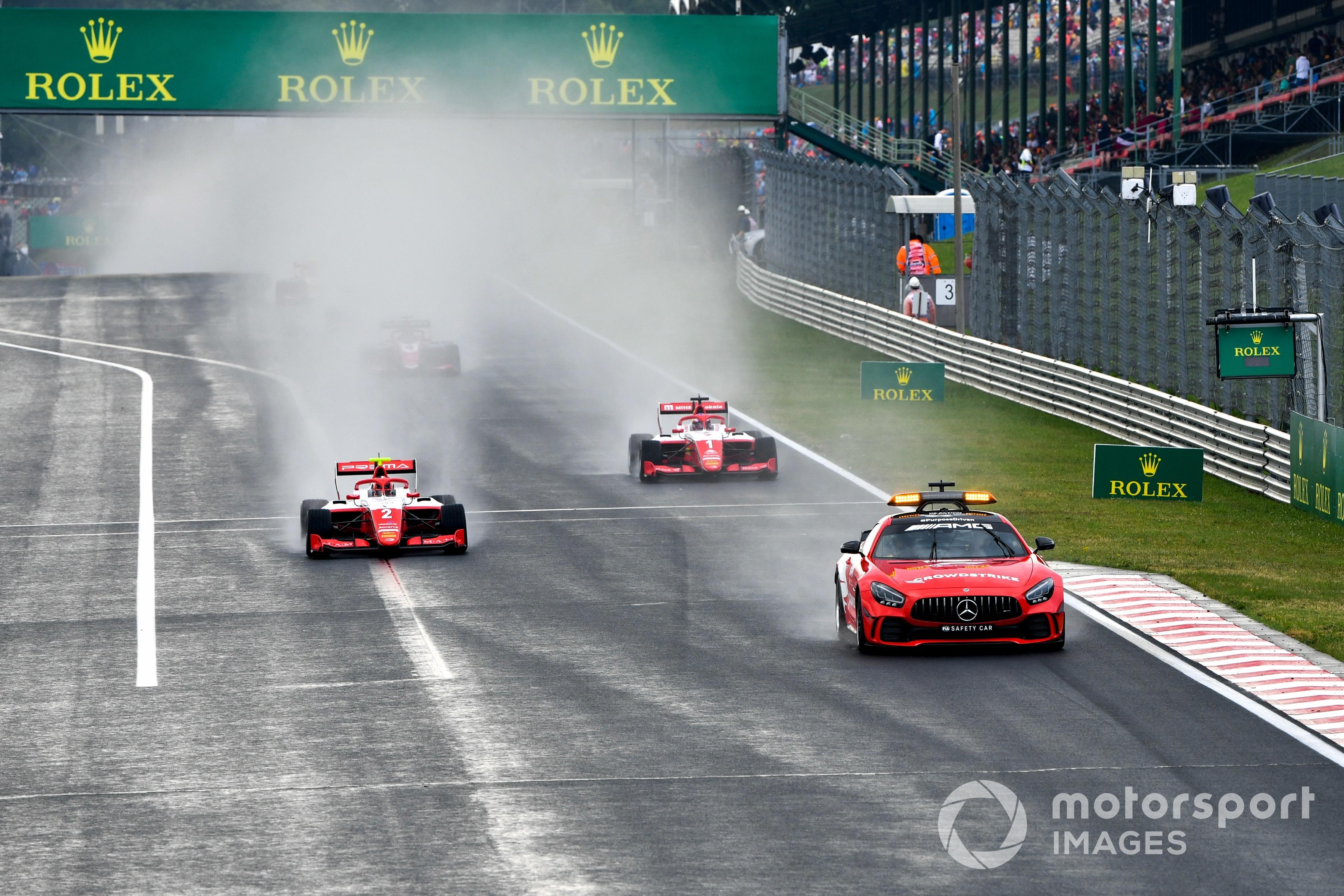 Arthur Leclerc and Dennis Hauger, both Prema Racing, behind the safety car