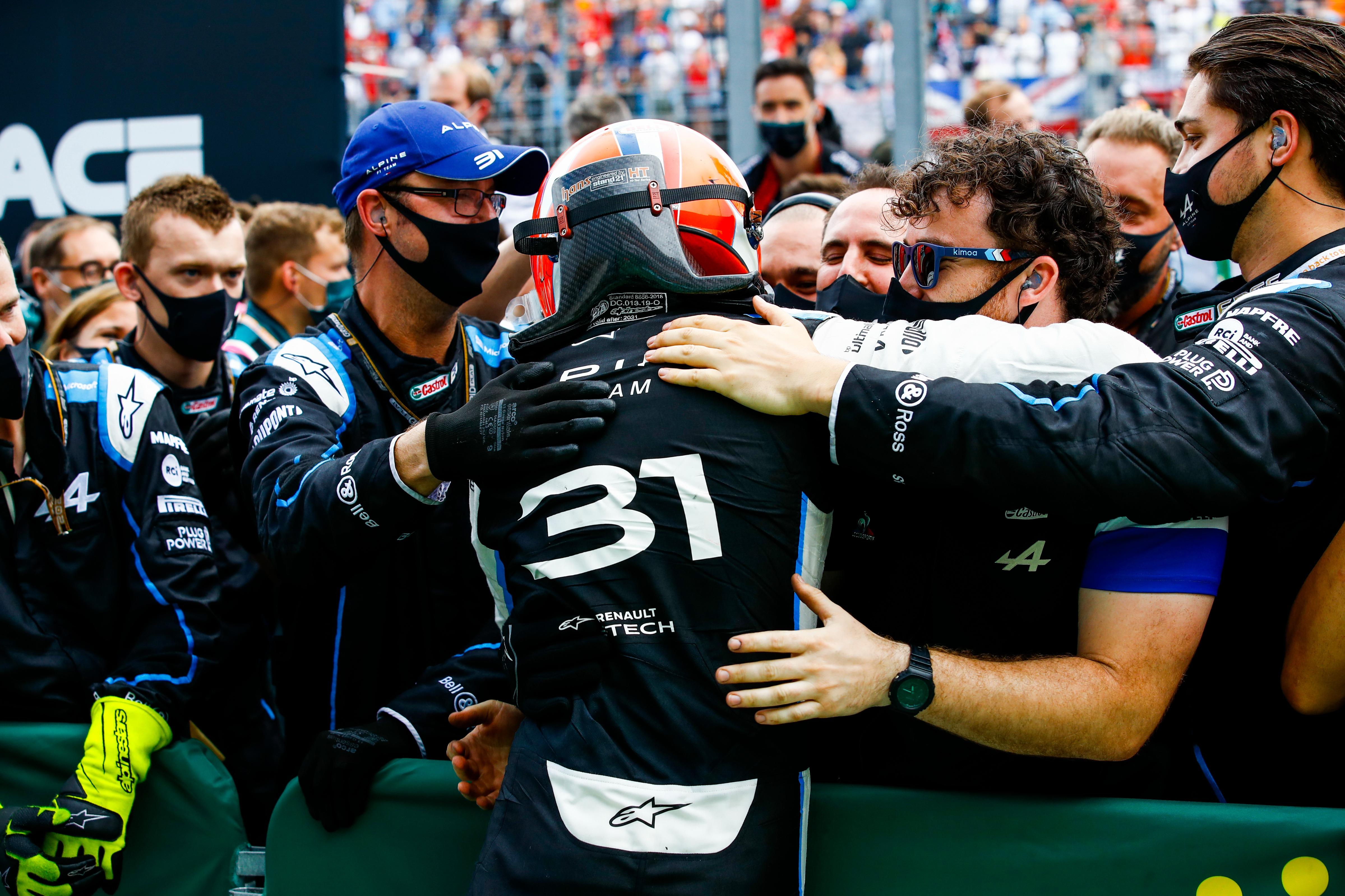 Esteban Ocon, Alpine F1, celebrates with his team in Parc Ferme