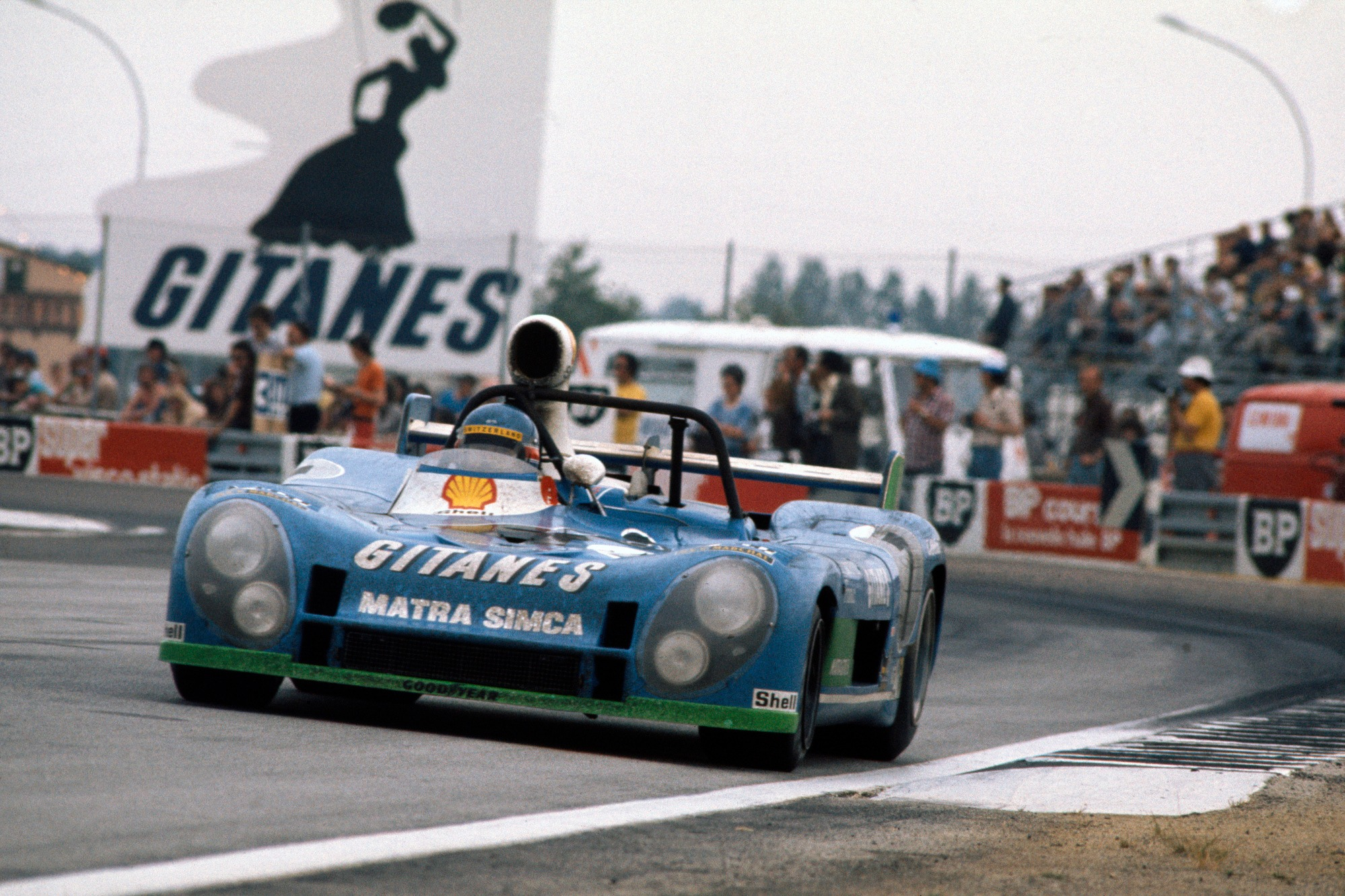 Pescarolo won Le Mans for Matra in three consecutive years, pictured here in 1974