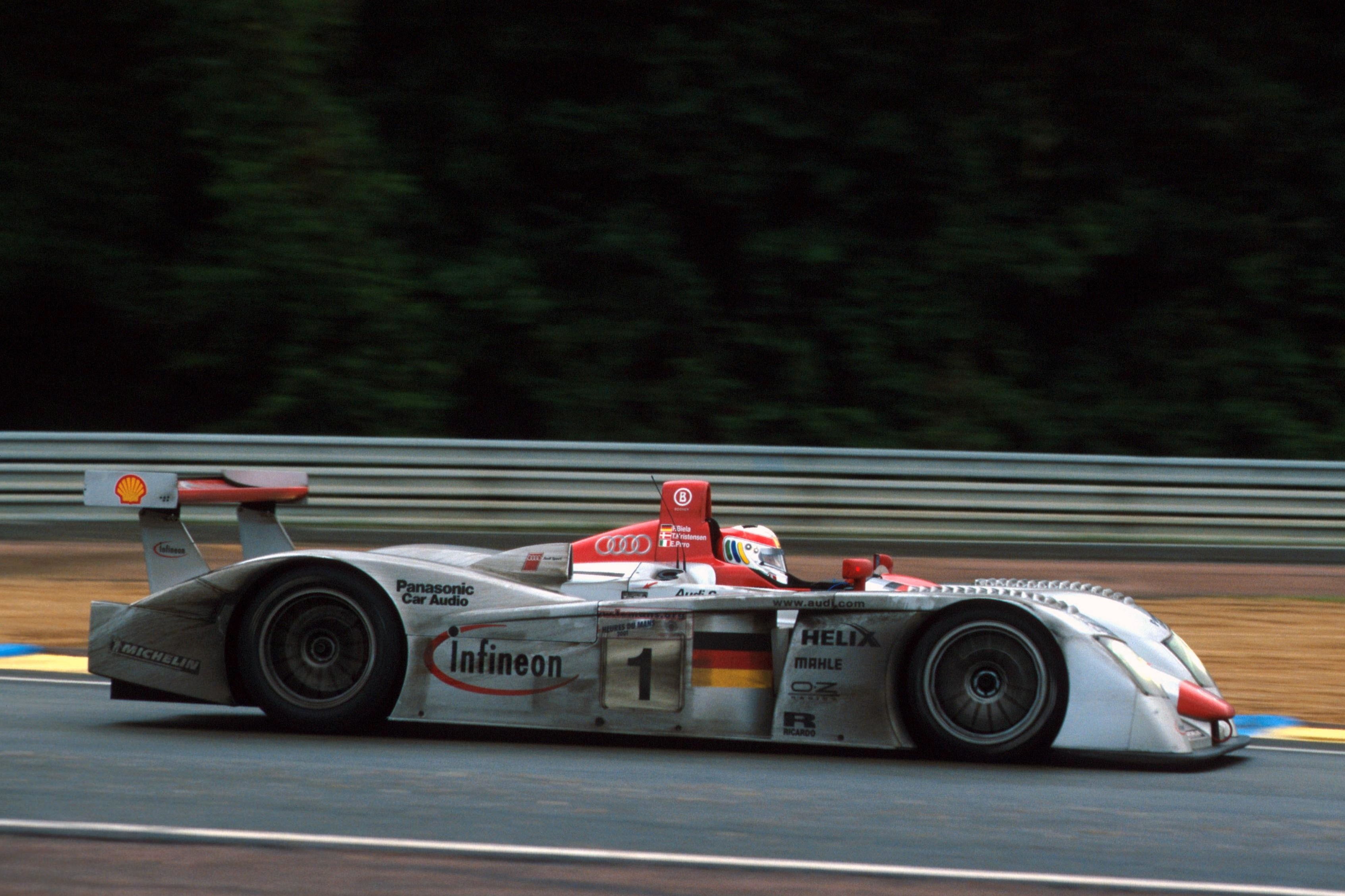 Heavy rain couldn't halt the Audi juggernaut in 2001 as Kristensen, Biela and Pirro claimed their second win on the trot