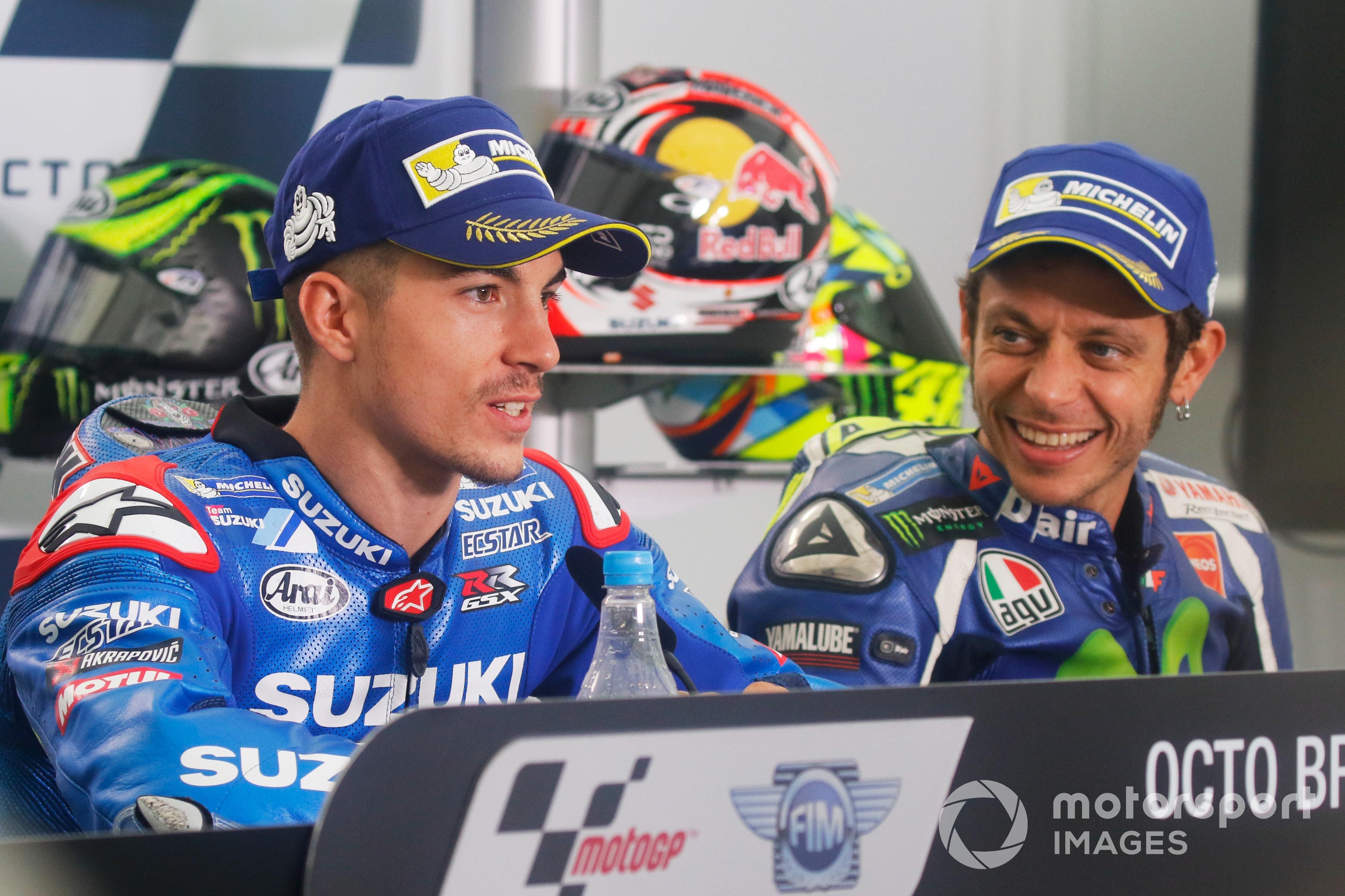 Maverick Vinales and Valentino Rossi at the 2016 British MotoGP