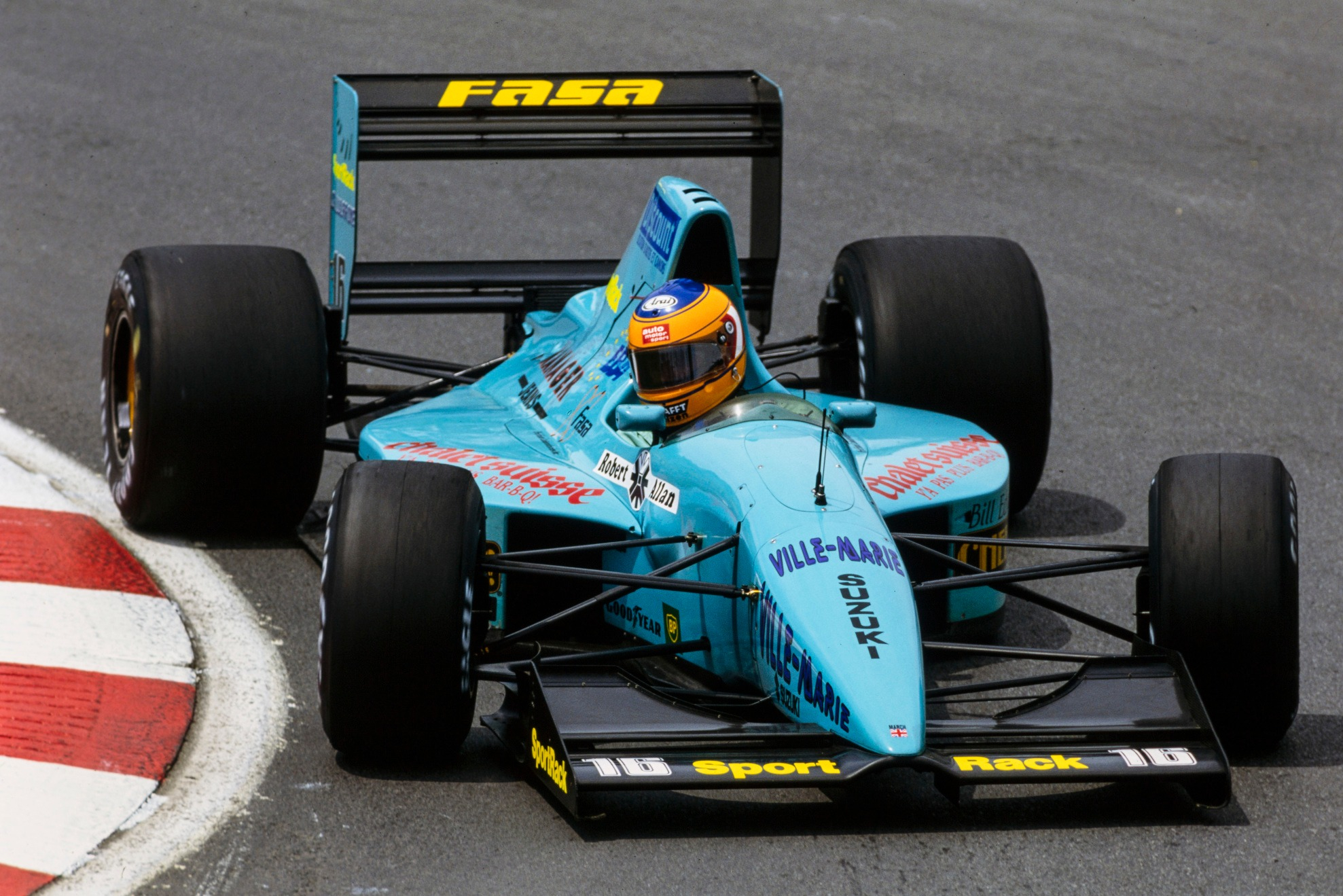 Wendlinger miraculously finished fourth in Montreal, but the team was running out of money - as the plethora of small stickers underlined