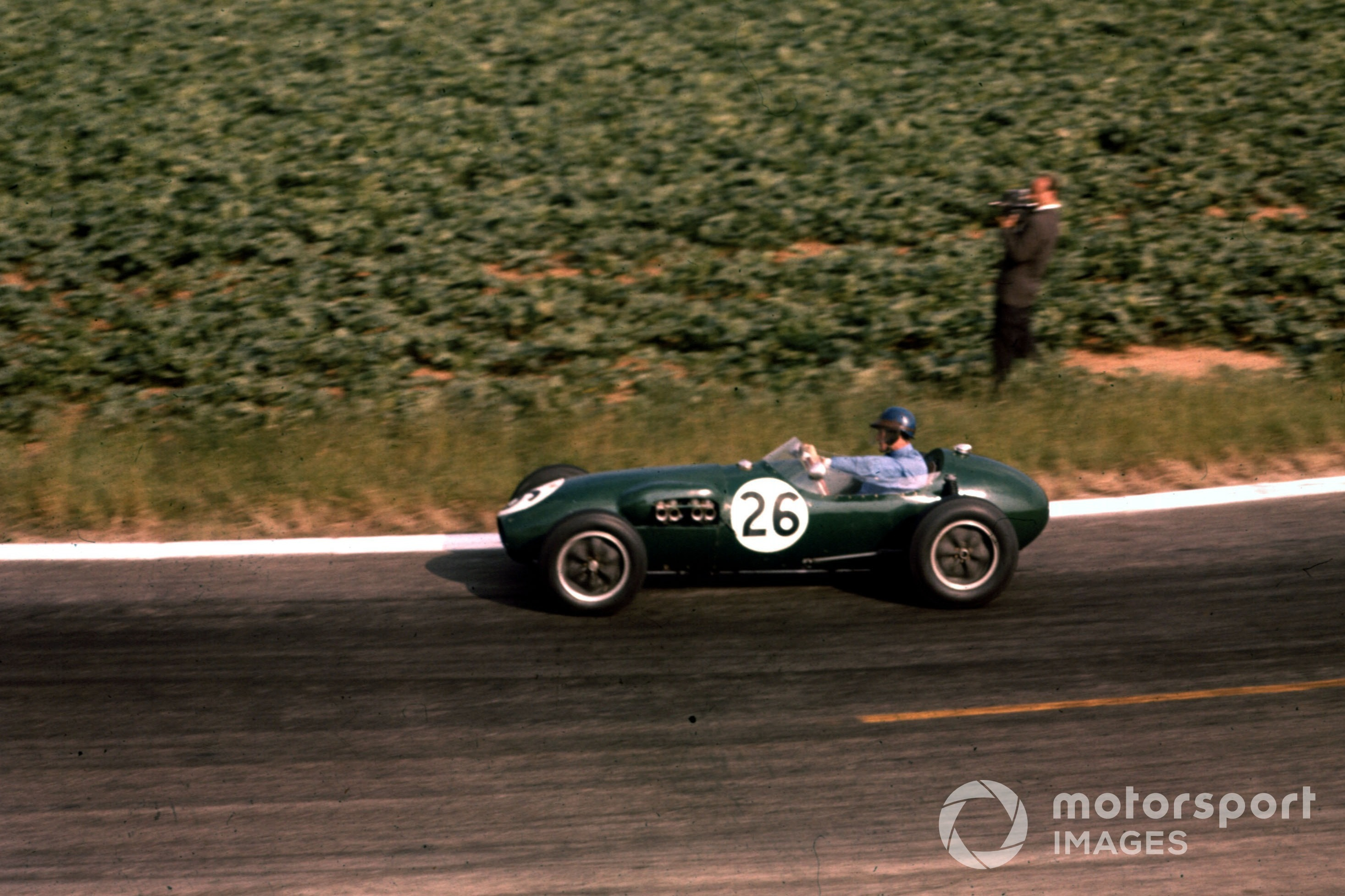 Cliff Allison in the Lotus-Climax 12 at the 1958 French GP