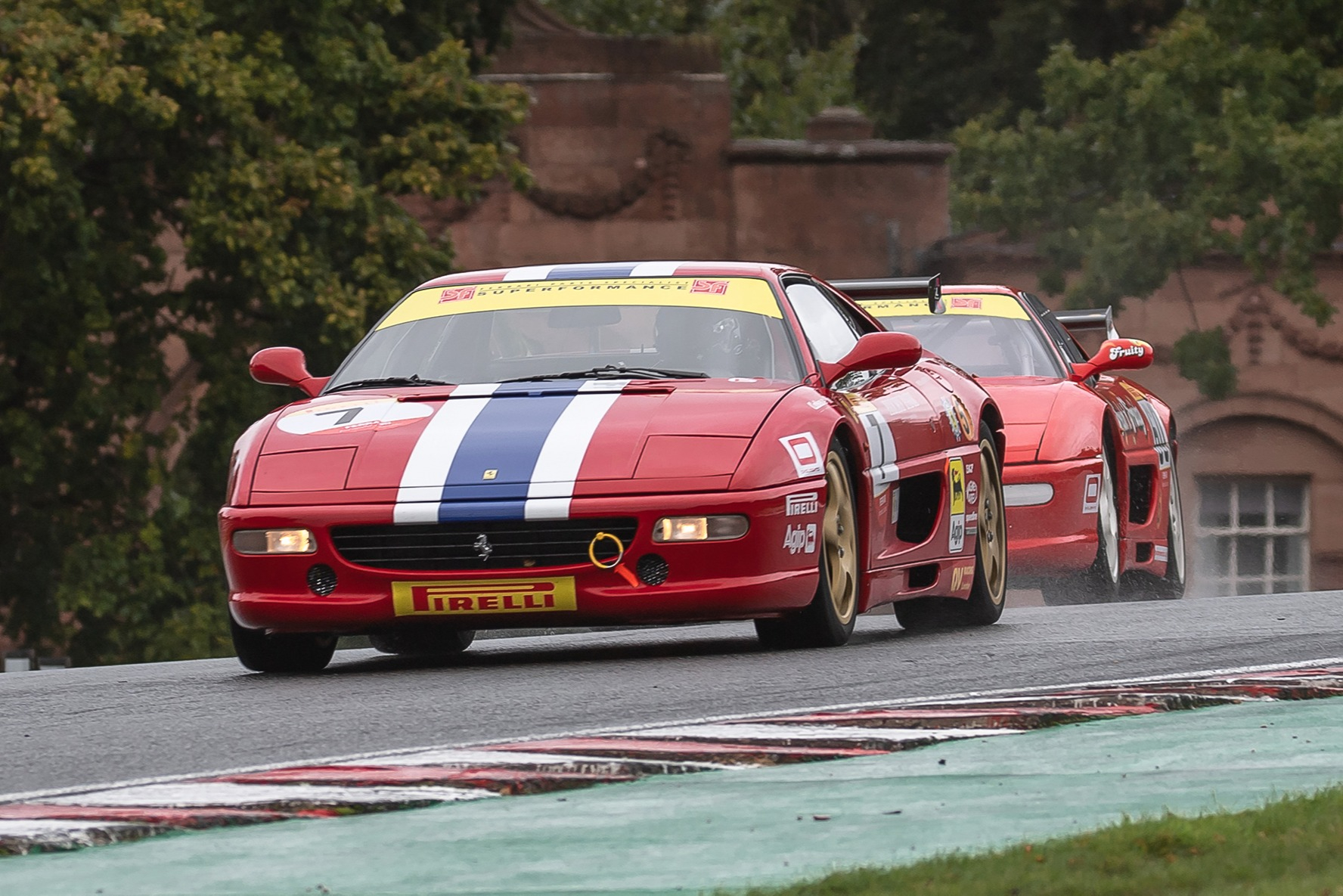 James Little and Wayne Marrs battle it out in the Pirelli Ferrari Formula Classic at Oulton Park