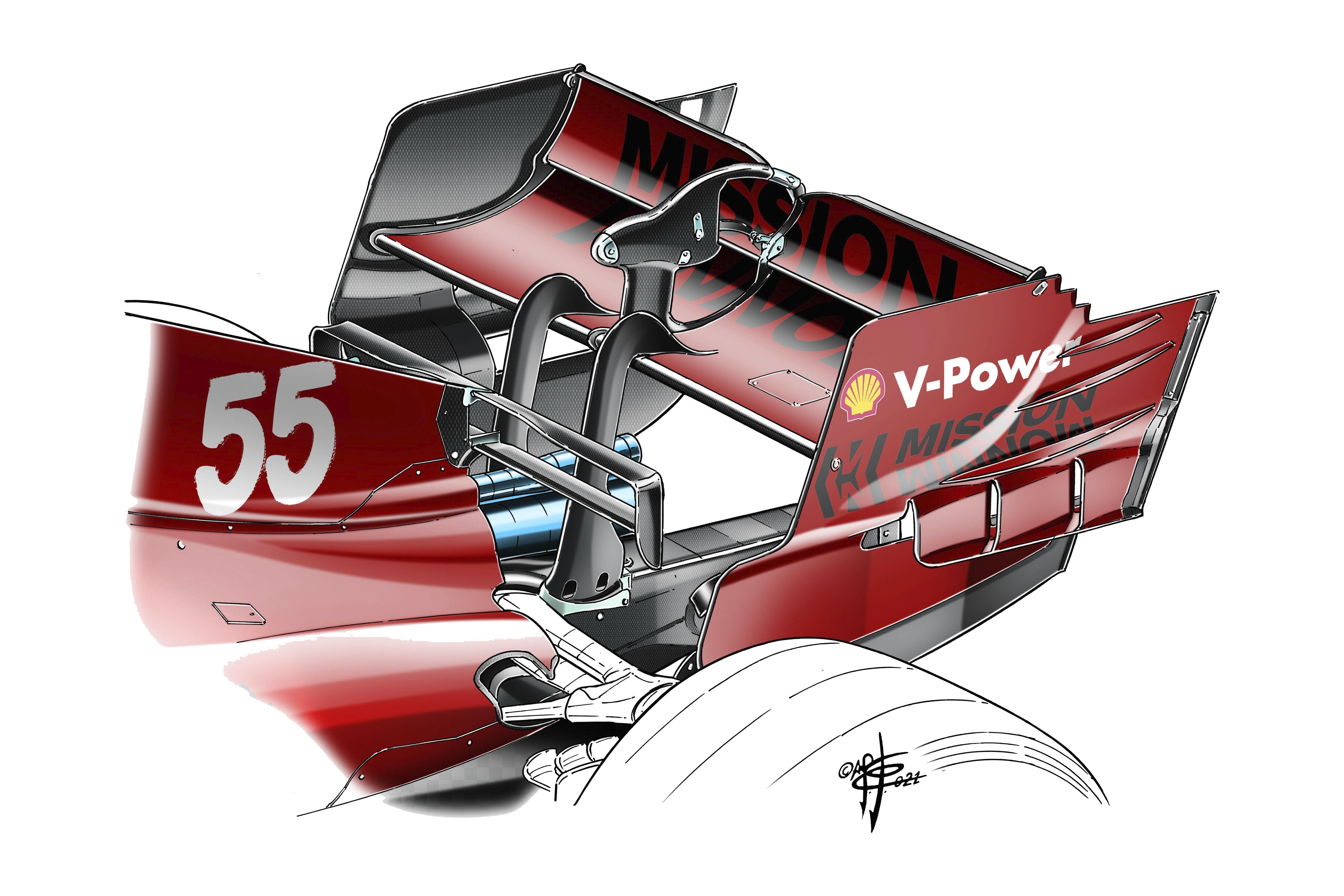 Ferrari SF21 rear wing end plate detail