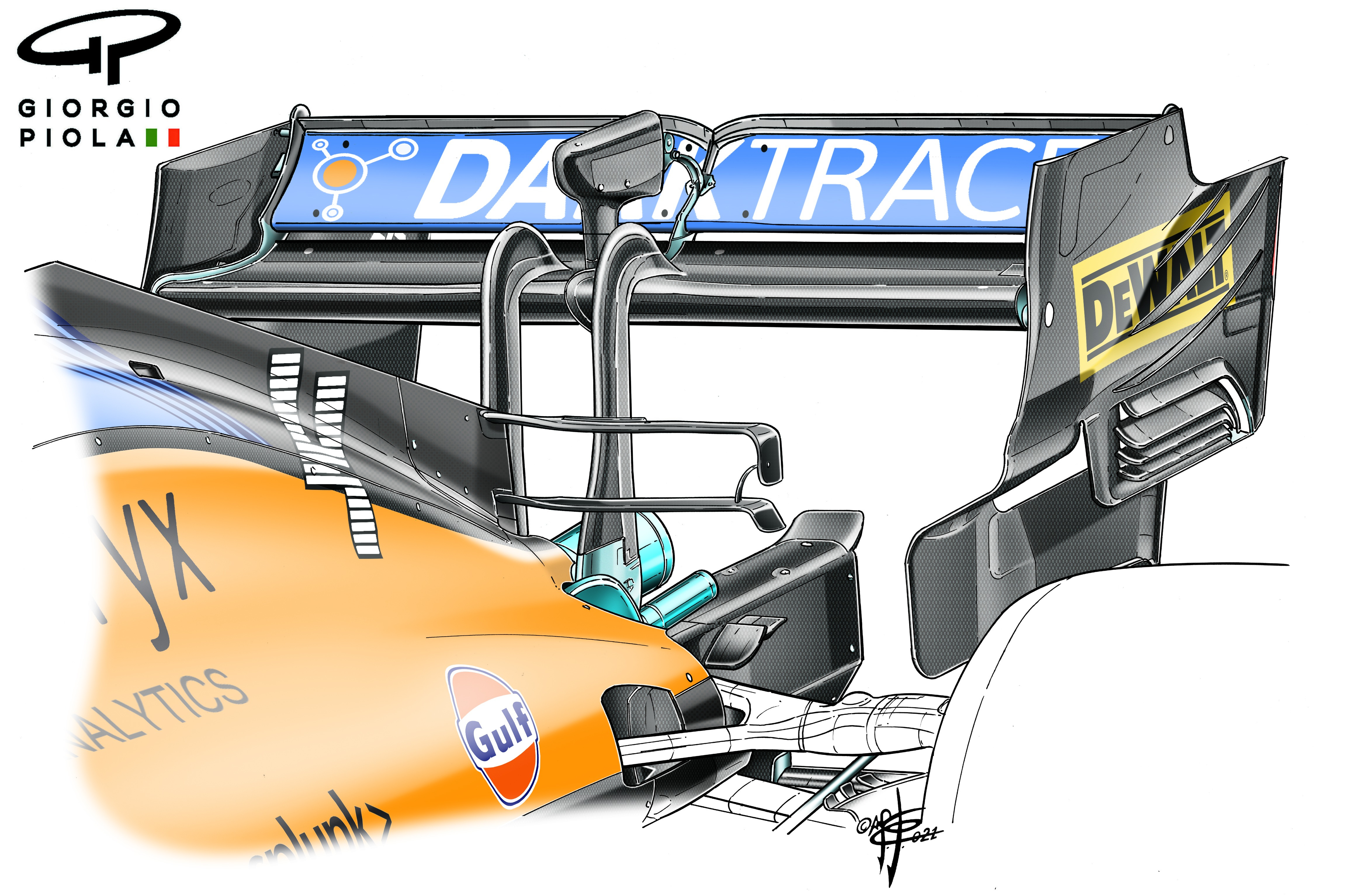 McLaren MCL35M rear wing, Russian GP
