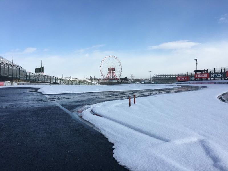 Circuito de Suzuka nevado. Foto: Suzuka