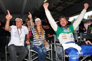 ADAC GT Masters Race 2 - Hans Joachim Stuck, a guest and Ferdinand Stuck cheering