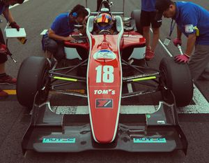 Driver Guillaume Cunnington at the Sugo grid