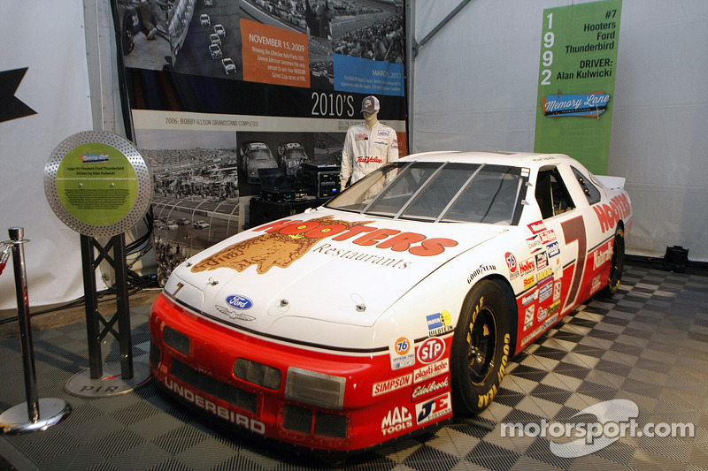 Alan's iconic #7 Hooters Thunderbird on Display at PIR