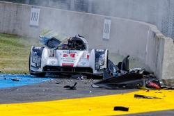 Loic Duval Le Mans practice crash
