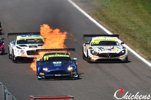 #11 TF Sport Aston Martin V12 Vantage: Mark Farmer, Nicki Thiim on fire