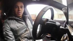 Lewis Hamilton driving the new Mercedes CLA