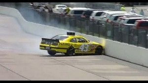NASCAR Nationwide Annett hits the wall at Iowa 2013