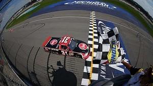 James Buescher passes Kyle Busch for the win! | Michigan International Speedway