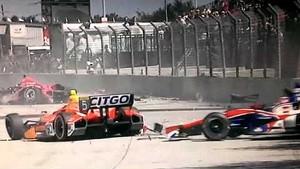 Dario Franchitti terrible crash IndyCar 2013 Grand Prix of Houston