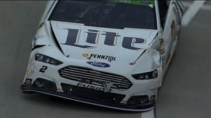 Brad Keselowski and Kurt Busch wreck on pit road at Martinsville - 2014 NASCAR Sprint Cup