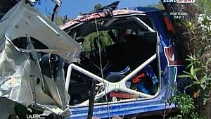 Jari-Matti Latvala massive crash at the Rally Portugal 2009