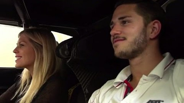 Daniel Abt takes Nicki Shields for a spin