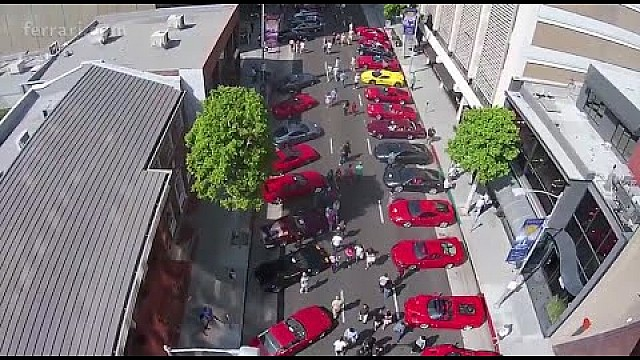 The largest display of Ferraris on Rodeo Drive to celebrate 60 years in the USA