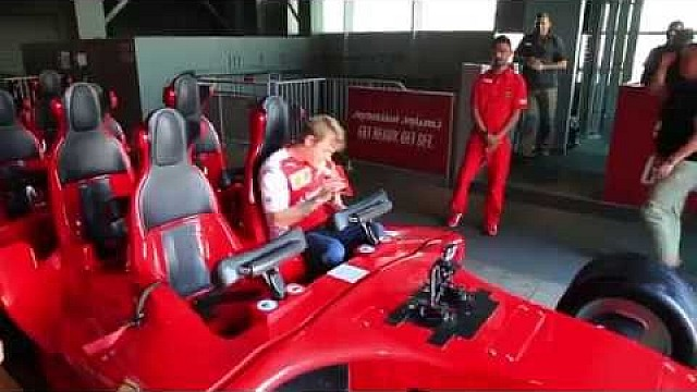 Kimi Raikkonen and Fernando Alonso dare the world's fastest rollercoaster-Formula Rossa!