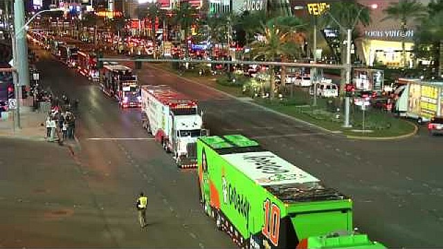 NASCAR haulers hit the Las Vegas Strip