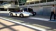 Lewis Hamilton, Sir Stirling Moss y dos clásicos Silver Arrows en Monza. ¡Pura magia!