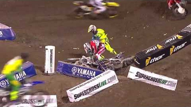 Weston Peick y Vince Friese lucha! 2016 monster Energy AMA Supercross ronda 1 Anaheim