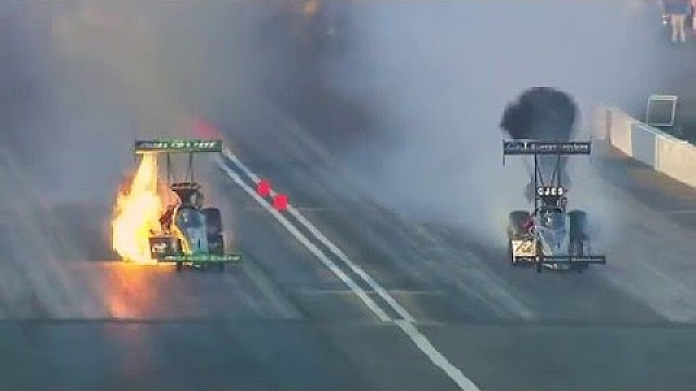 Leah Pritchett experiences big fire in her Top Fuel Dragster Pomona