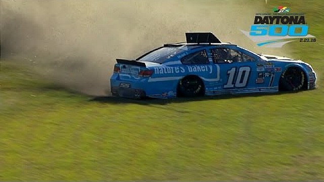 Danica slides through the grass in Daytona