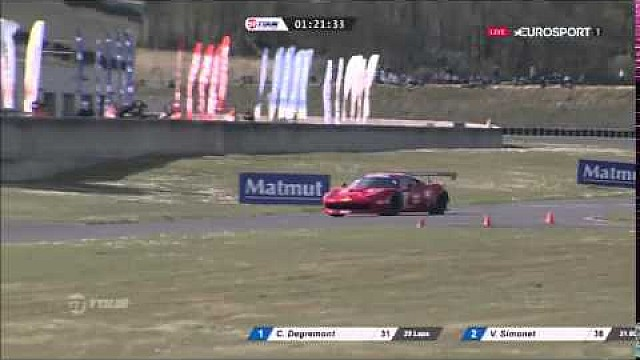 GT Tour 2016 at Nogaro: Ferrari #17 drives on the track against traffic