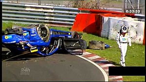 Massive crash of a Mercedes AMG GT3 at the 24h Nürburgring qualifying race