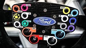Кен Блок объясняет функции рулевого колеса своего ралли-кроссового автомобиля