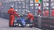 Felipe Nasr'ın Monaco'daki sıralama turlarında yaşadığı motor problemi