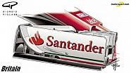 Джорджо Піола - зміни в конструкції переднього антикрила Ferrari SF16-H до ГП Британії