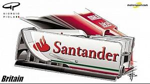 Giorgio Piola - Ferrari voorvleugel Silverstone