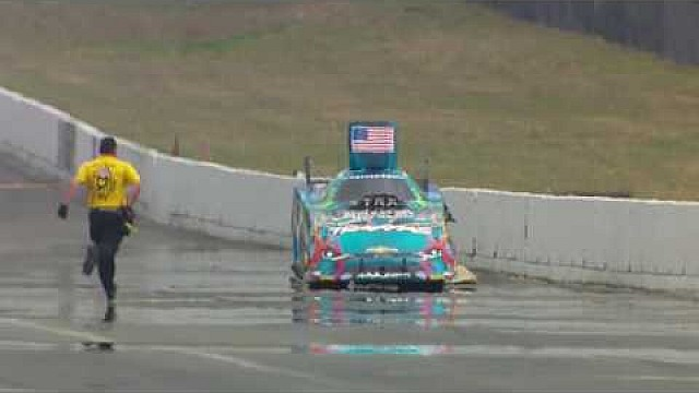 NHRA Funny Car driver Courtney Force hits the wall hard in Seattle