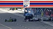 Wild airborne crash on pit road